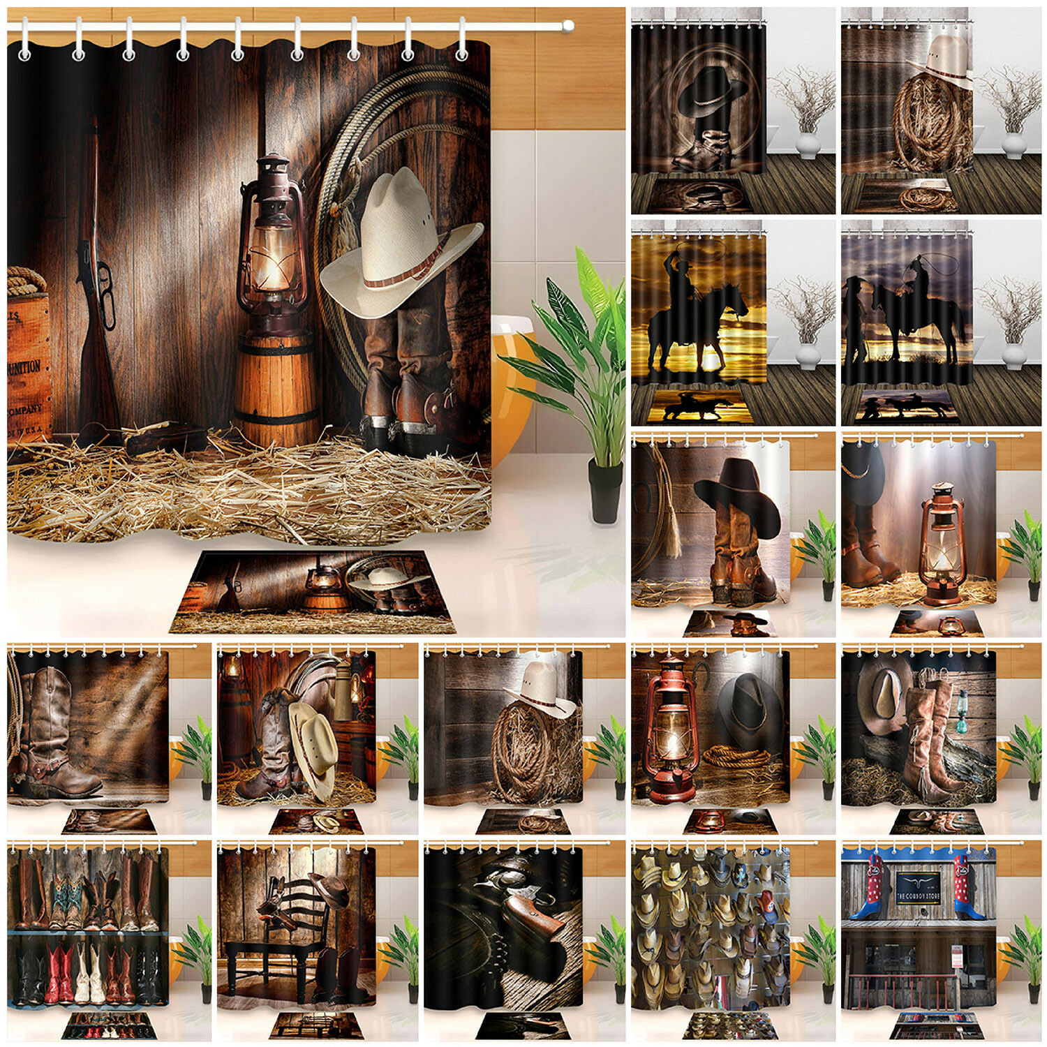 Cowboy Hat Boots Lasso Kitchen Curtain Panel Set Rodeo Western Rustic Wood Panel For Sale Online Ebay