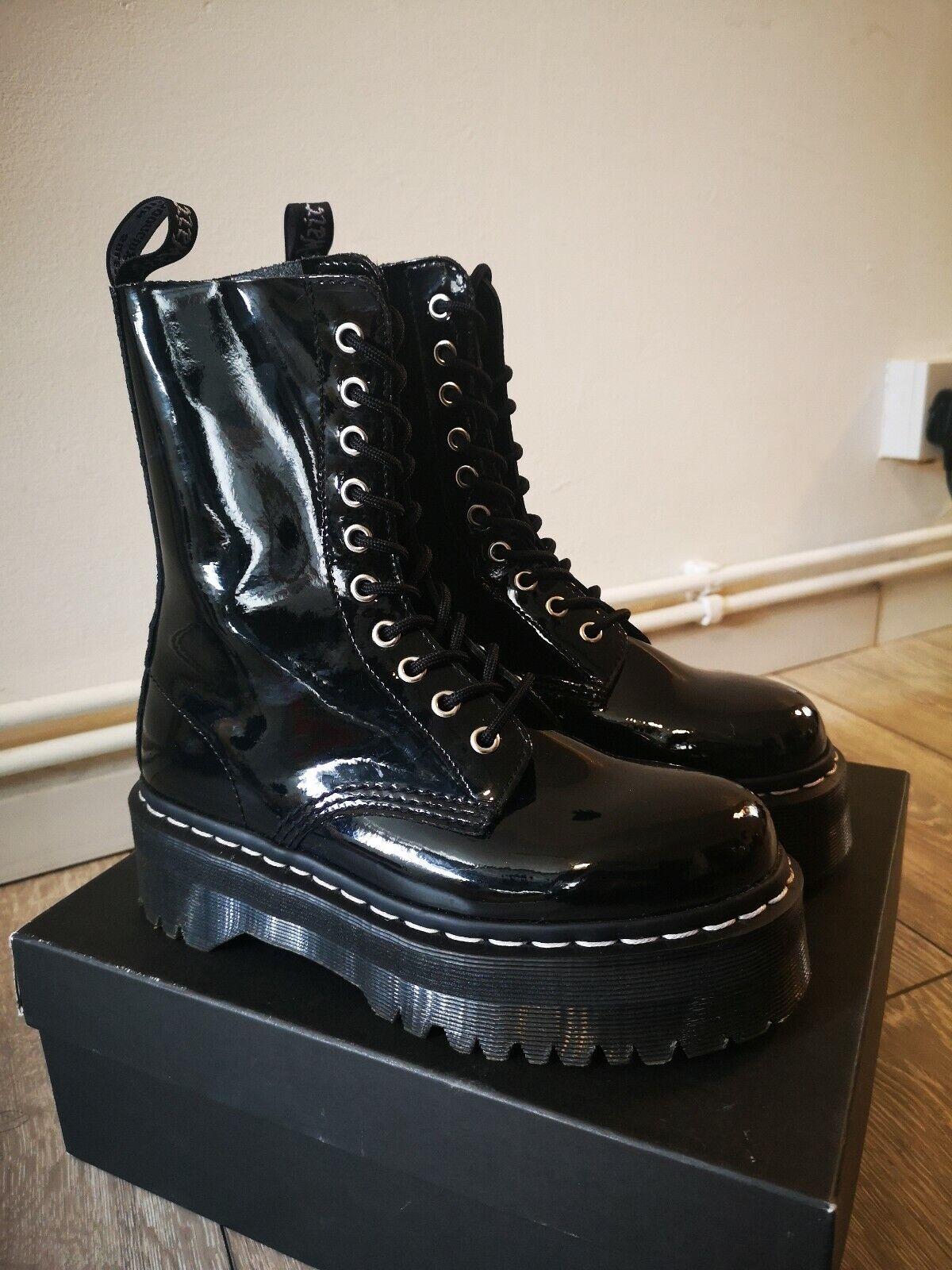 Agyness Deyn Dr Martens 10 eyelet Black Black Black Patent Pnatform Jadon Boot Rare Size 4 2728d1
