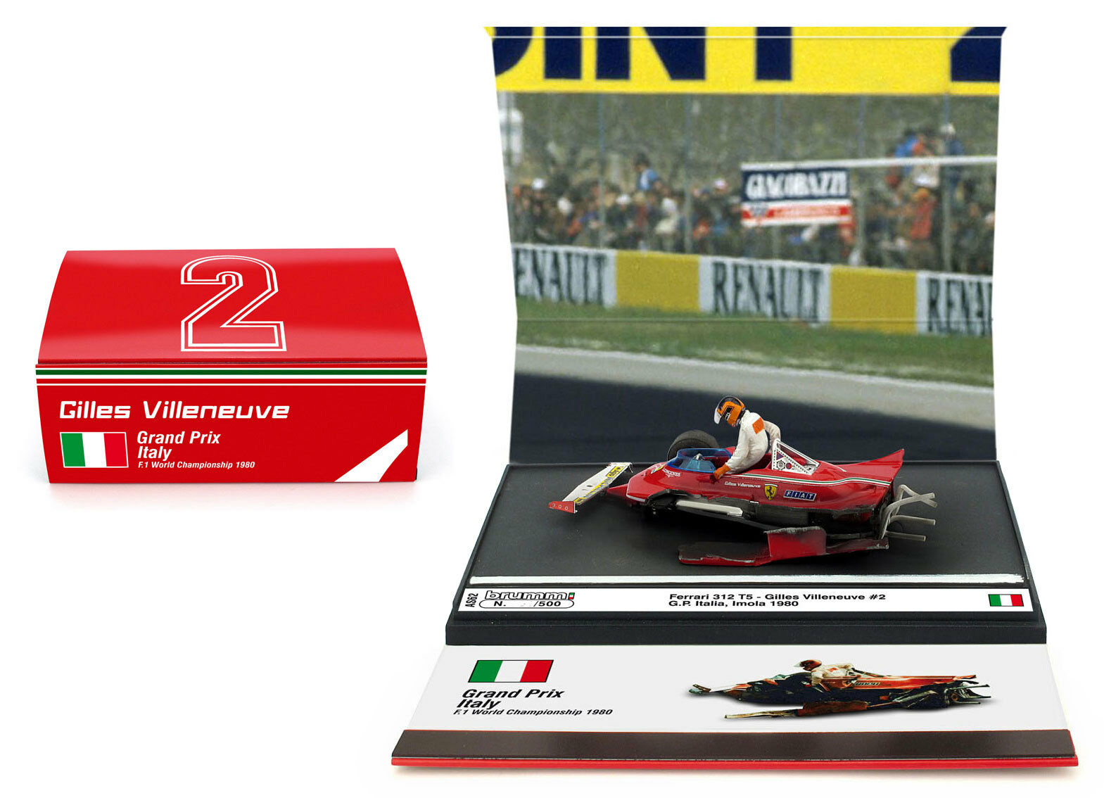 Brumm AS62 FERRARI 312 T5  2 Italiano GP 1980-Gilles Villeneuve scala 1/43