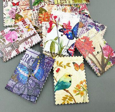 DIY Stamp Wooden Buttons Flowers Butterflies bird Tower Sewing Scrapbooking 40mm