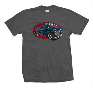 T-Shirt-Hot-Rod-Garage-Rockabilly-Rat-US-Kustom-Car-Flathead-Ford-V8-grau