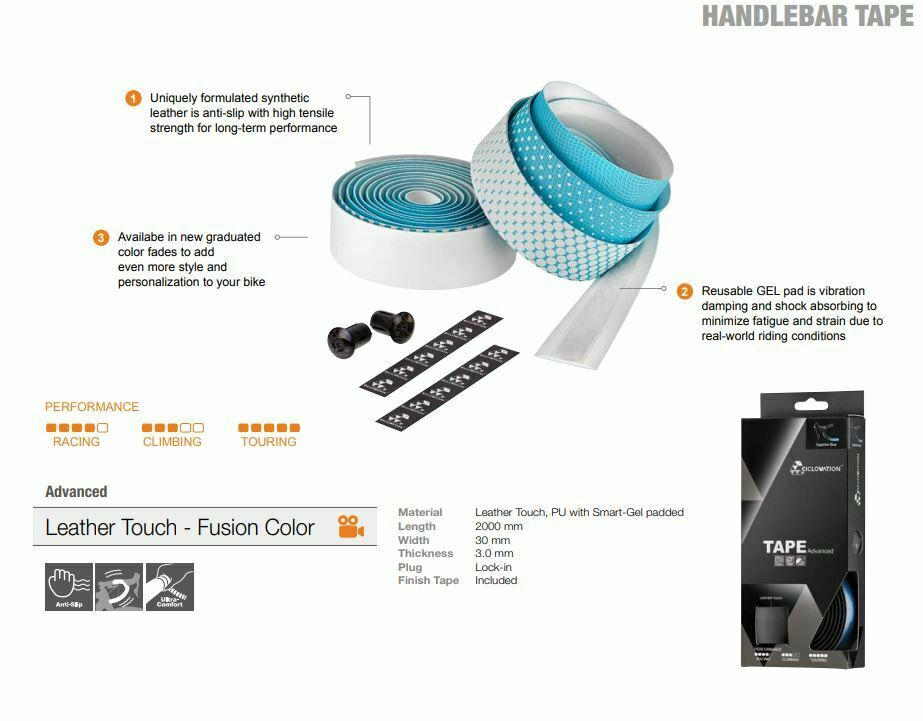 Ciclovation 3620.22321 Advanced Bar Tape with Leather Touch Fusion Series Blue
