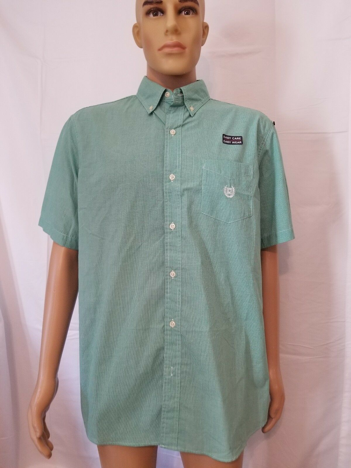 Chaps Button Up Shirt Mens Easy Care Easy Wear Green Large NWT NEW Short Sleeve