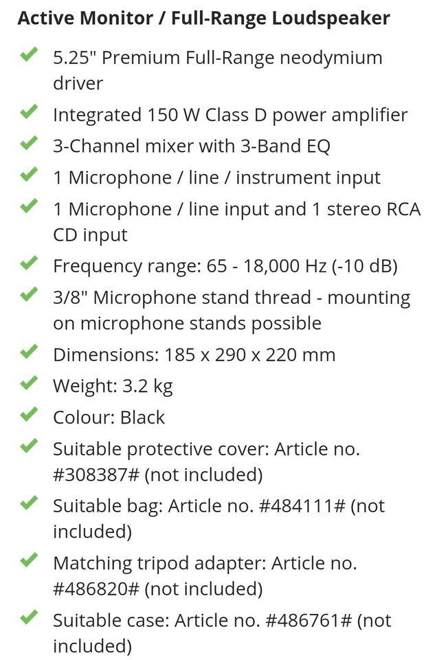 Behringer højtaler /monitor , Eurolive 205d Aktiv
