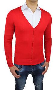 diseño de calidad 74037 f4c6f Detalles de Suéter Hombre Cardigan Slim Fit Ajustado Rojo Suéter Pulóver S  M L XL XXL