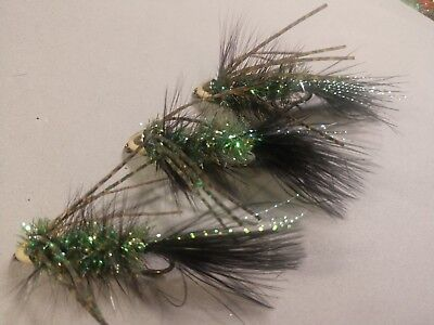 Olive /& Olive Brown Marabou Rbr Woolly Bug Freshwater 2020 Per 6//size 6,Hot!!