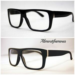 cb52073dcb Men s Women vintage retro Style Clear Lens eye glasses thick black ...