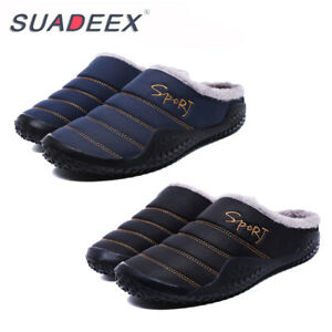 Mens-Winter-Indoor-Outdoor-Slippers-Warm-Fur-Slip-on-Cozy-Bedroom-House-Shoes