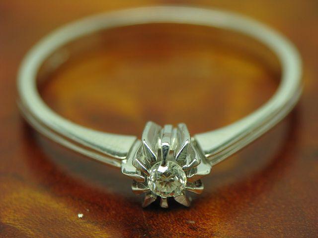14kt 585 whitegold Ring mit Brillant Solitär Besatz   Diamant   1,9g   RG 55,5