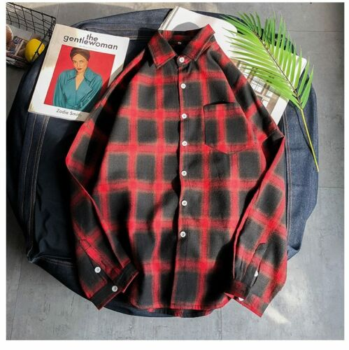 Male Shirt Plaid Casual Clothing For Men Plus Size Top Wear Clothes Long Sleeves