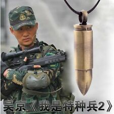 Mens Boy Alloy Army Military Bullet Pendant Necklace Leather Chain UK Seller