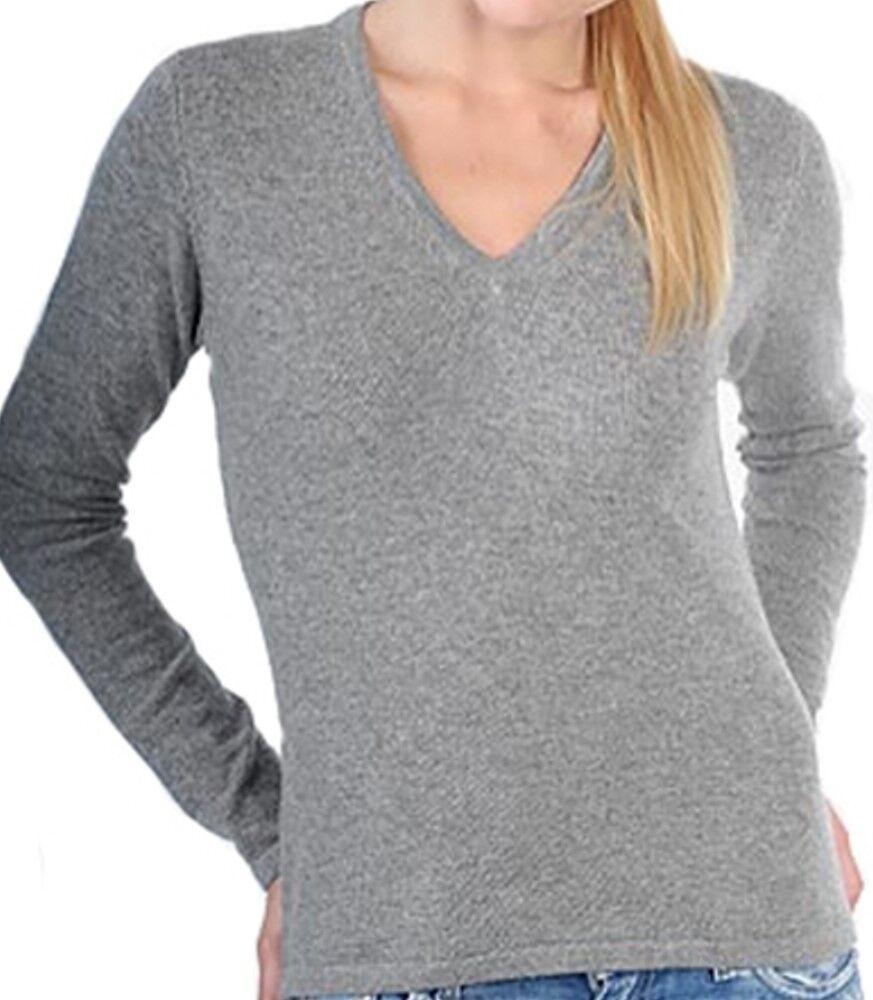 Balldiri 100% Cashmere Damen Pullover 2-fädig V-Ausschnitt grau L