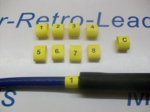 8 /& C 8 HEAT SHRINK HT LEAD BLACK ON YELLOW  1 IGNITION LEAD PLUG NUMBERS 1