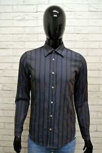 Camicia-Uomo-MARLBORO-CLASSICS-Taglia-S-Maglia-Shirt-Man-a-Righe-Slim-Grigio
