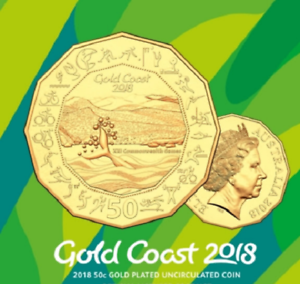 Gold Coast XXI Commonwealth Games 2018 Australia 50c GOLD PLATED UNC Coin