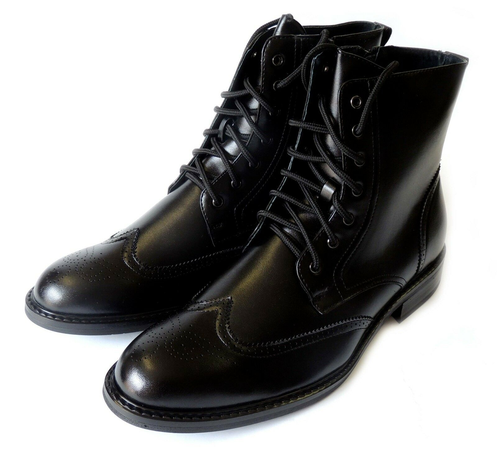 NEW *DELLI ALDO* MENS HIGH ANKLE BOOTS LACEUP OXFORDS WING TIP DRESS SHOES/BLACK