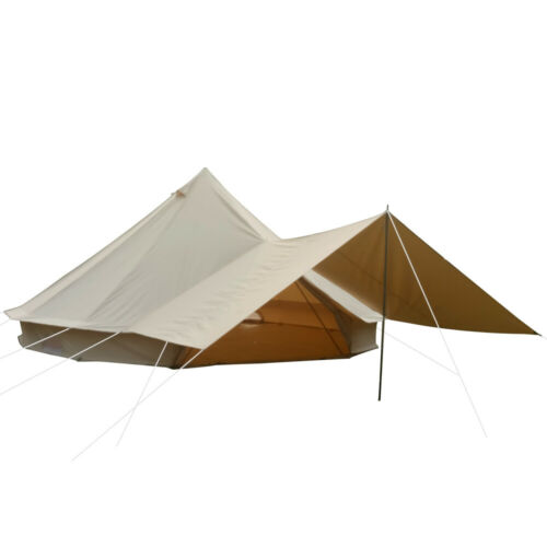 3M Cotton Canvas Bell Tent Front Awning Waterproof Glamping Yurt Tent 2-3Persons