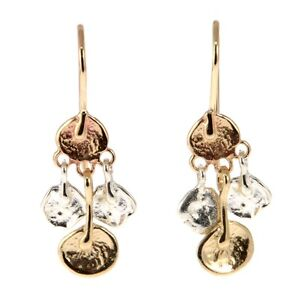 New-Pair-of-14k-Yellow-Gold-and-Sterling-Silver-Dangling-Earrings