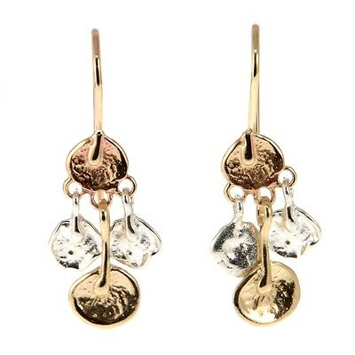 New Pair of 14k Yellow Gold and Sterling Silver Dangling Earrings