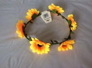Daisy Flower Headband Garland HairBand Crown Wreath Festival Boho Hippy Beach UK
