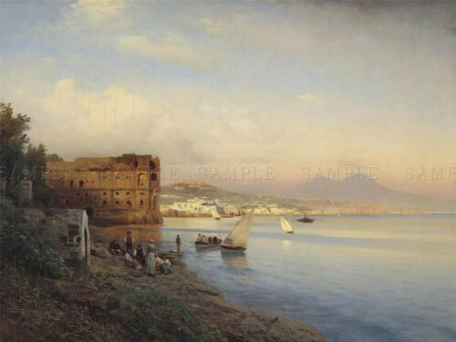 PAINTING SEASCAPE CITY FLAMM BAY NAPLES QUEEN/'S PALACE ART PRINT POSTER LF730