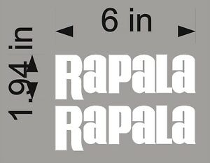 """WHITE Rapala Fishing 6/"""" Vinyl Vehicle Tackle Bait Gear Graphic Stickers PAIR"""