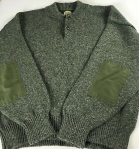 Cabelas-Sweater-VTG-Mens-XL-USA-Made-Green-Elbow-Patches-Hunting-Wool-Blend-Knit