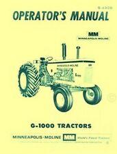 Minneapolis Moline G1000 G 1000 Operators Owners Manual