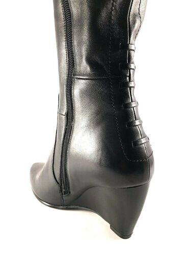 Popushier HJ9285-16-602 Black Leather Wedge Knee High Dress Boots
