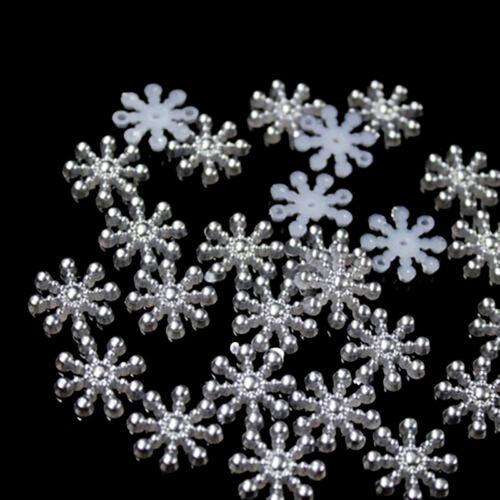 100× Snowflake Flatback Pearl Embellishments Christmas Craft DIY ToolsPLfFBDU
