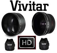 Hi-def 2-pc Pro Telephoto & Wide Angle Lens Set For Canon Powershot Sx60 Sx50 Hs