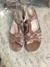 Women's ECCO Tan  Leather Wedge Strappy Ankle Strap Sandals size 40 9 9.5