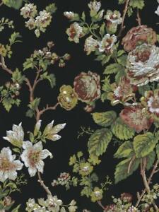 Wallpaper-Designer-Cottage-Red-Beige-White-Green-Rose-Vine-on-Black