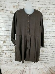 FLAX-Jeanne-Engelhart-Womens-Size-S-Artsy-Button-Front-Tunic-Linen-Top-Brown
