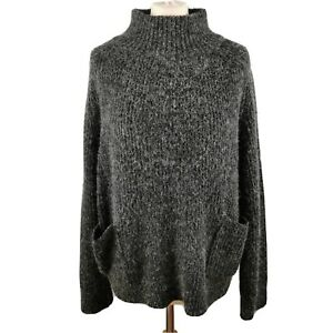Monki-Size-L-14-16-Charcoal-Grey-Round-Neck-Knitted-Jumper-Pockets-Winter-Womens