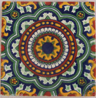 "C228- Mexican Handmade Talavera Clay Tile Folk Art 4x4""  Handpainted"