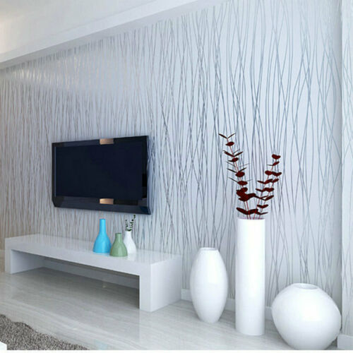 Luxury Wallpaper Roll Home Flocking Embossed Textured Lines Wall Paper Backgroun