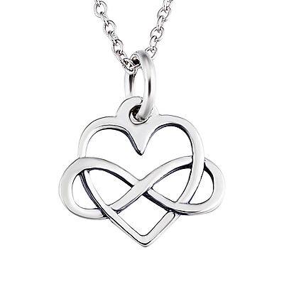 Infinity Love Necklace 925 Sterling Silver Eternal Open Heart Pendant Jewelry