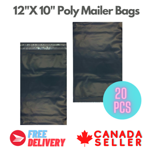 20-PCS-12-034-X10-034-Black-Poly-Mailer-Bags-Plastic-Envelopes-Shipping-Self-Sealing