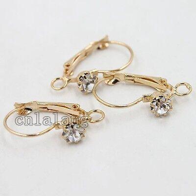 20x Fashion Retail Rose Gold French Hooks Earring Earwires Inlay Rhinestone C