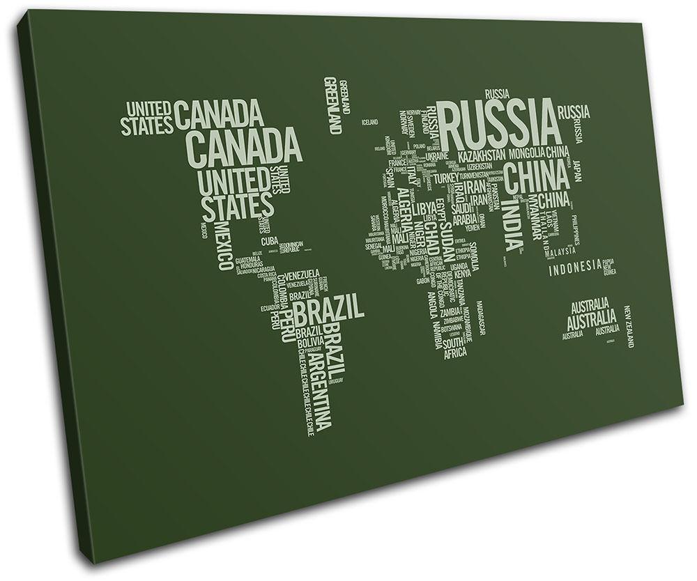 World Atlas vert Olive Type Maps Flags SINGLE TOILE murale ART Photo Print