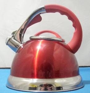 Prima 3.5L Acciaio Inox Fischio Bollitore con manico in silicone in Rosso 11144C