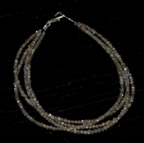 "925 Sterling Silver 5-10/"" Bracelet 3 Layer Blue Labradorite 2mm Beads NBG2525"
