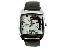 ELVIS PRESLEY WATCH Stainless Steel LEATHER MUSIC KING LEGEND SQUARE CD WATCH E1