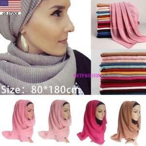 Women-039-s-Autumn-Muffler-Scarf-Muslim-Hijab-Turban-Shawl-Cotton-line-Wrap-Headband