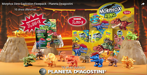 MORPHOX-DINO-Explosion-Lote-de-5-sobres-Pack-con-volcan-De-Altaya