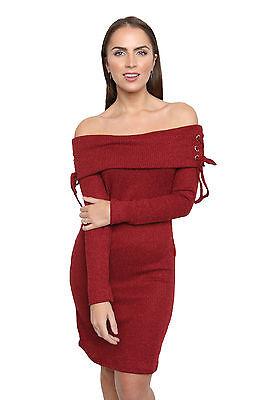 Mujer estil BARDOT Sin Un Hombro Vestido Cordón Medio Elástico Acanalado de 8-14