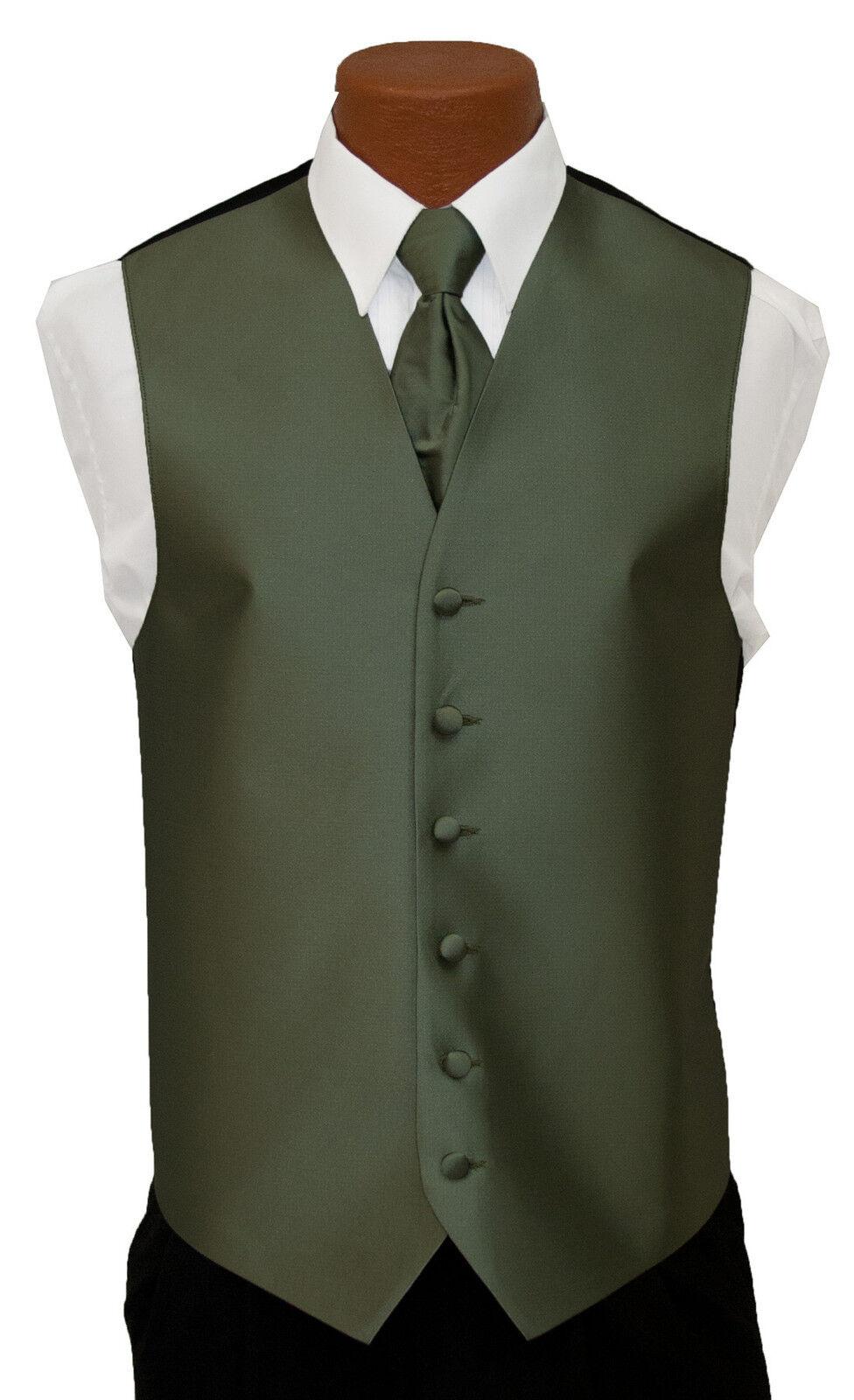 XLarge Long After Six Aries Celedon Green Fullback Wedding Tuxedo Vest Tie Set