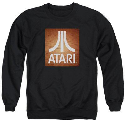 Atari Long Sleeve T-Shirt Classic Wood Emblem Logo Black Tee