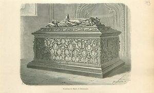 Tombeau-Marie-de-Bourgogne-eglise-Notre-Dame-de-Bruges-GRAVURE-OLD-PRINT-1880